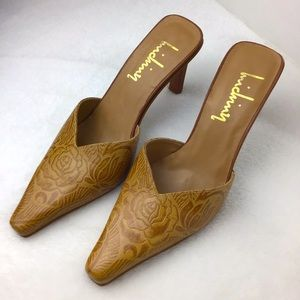 Inichiny Giora Tooled Leather Pointy Mules Size 8